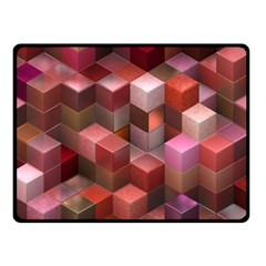 Artistic Cubes 9 Pink Red Double Sided Fleece Blanket (Small)