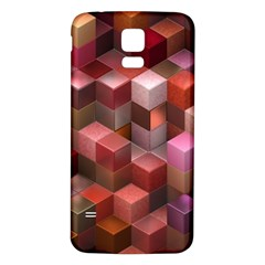 Artistic Cubes 9 Pink Red Samsung Galaxy S5 Back Case (White)