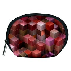Artistic Cubes 9 Pink Red Accessory Pouches (medium)