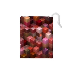 Artistic Cubes 9 Pink Red Drawstring Pouches (small)