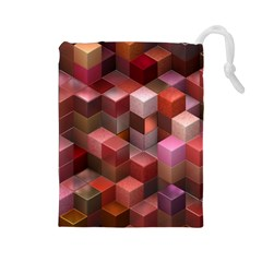 Artistic Cubes 9 Pink Red Drawstring Pouches (large)