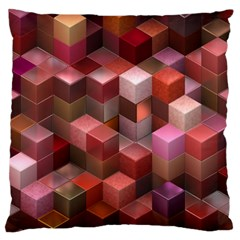 Artistic Cubes 9 Pink Red Large Flano Cushion Cases (One Side)