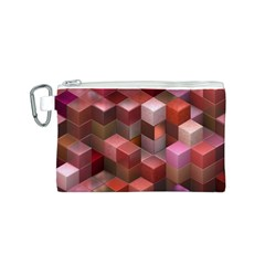Artistic Cubes 9 Pink Red Canvas Cosmetic Bag (S)