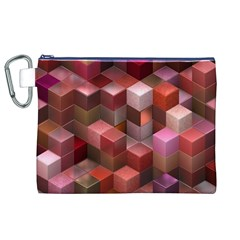 Artistic Cubes 9 Pink Red Canvas Cosmetic Bag (XL)