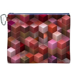 Artistic Cubes 9 Pink Red Canvas Cosmetic Bag (XXXL)