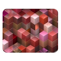 Artistic Cubes 9 Pink Red Double Sided Flano Blanket (large)