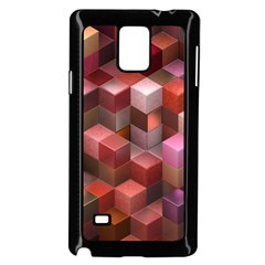 Artistic Cubes 9 Pink Red Samsung Galaxy Note 4 Case (Black)