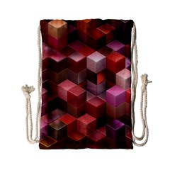 Artistic Cubes 9 Pink Red Drawstring Bag (Small)