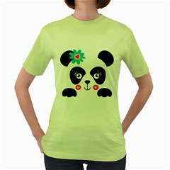 Panda Bear Women s T-shirt (Green)