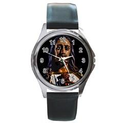 Jesus Christ Sculpture Photo Round Metal Watches