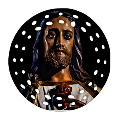 Jesus Christ Sculpture Photo Round Filigree Ornament (2side)