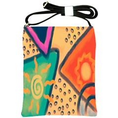 Original Abstract Painting On Shoulder Sling Bag