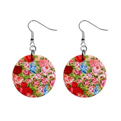 Pretty Sparkly Roses Mini Button Earrings