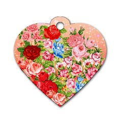 Pretty Sparkly Roses Dog Tag Heart (Two Sides)