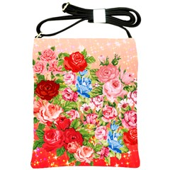 Pretty Sparkly Roses Shoulder Sling Bags
