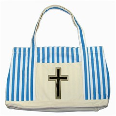 Christian cross Striped Blue Tote Bag
