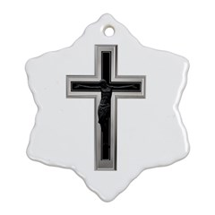 Christian cross Snowflake Ornament (Two Sides)