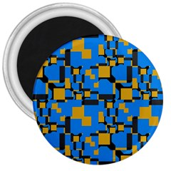 Blue yellow shapes 3  Magnet