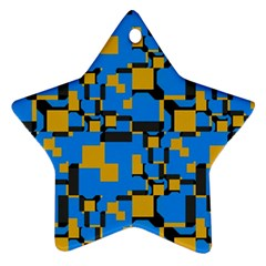 Blue Yellow Shapes Star Ornament (two Sides)