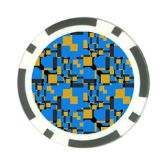 Blue yellow shapes Poker Chip Card Guard (10 pack)