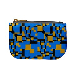 Blue yellow shapes Mini Coin Purse
