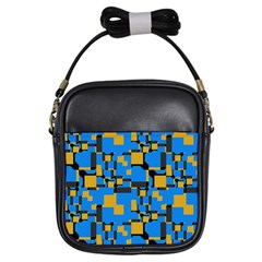 Blue yellow shapes Girls Sling Bag