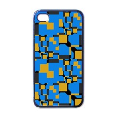 Blue yellow shapes Apple iPhone 4 Case (Black)