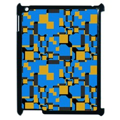 Blue yellow shapes Apple iPad 2 Case (Black)