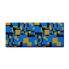 Blue yellow shapes Hand Towel
