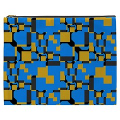 Blue yellow shapes Cosmetic Bag (XXXL)