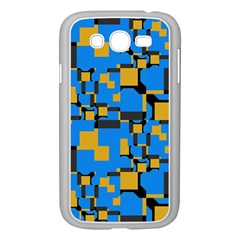 Blue yellow shapes Samsung Galaxy Grand DUOS I9082 Case (White)
