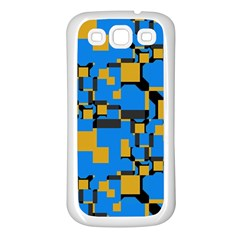 Blue yellow shapes Samsung Galaxy S3 Back Case (White)