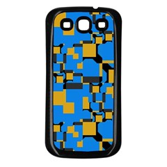 Blue yellow shapes Samsung Galaxy S3 Back Case (Black)