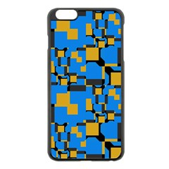 Blue yellow shapes Apple iPhone 6 Plus Black Enamel Case