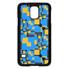 Blue Yellow Shapes	samsung Galaxy S5 Case
