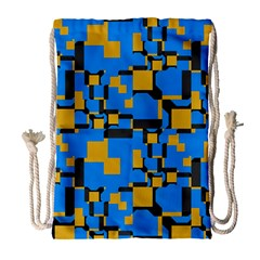 Blue yellow shapes Large Drawstring Bag