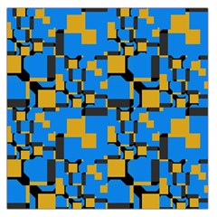 Blue Yellow Shapes Satin Scarf