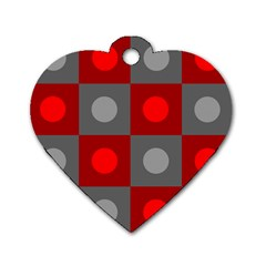 Circles in squares pattern Dog Tag Heart (One Side)