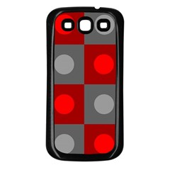 Circles in squares pattern Samsung Galaxy S3 Back Case (Black)