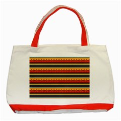 Waves and stripes pattern Classic Tote Bag (Red)