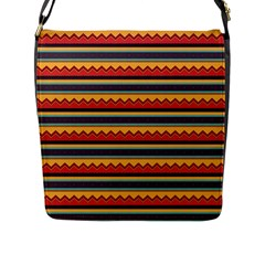 Waves and stripes pattern Flap Closure Messenger Bag (L)