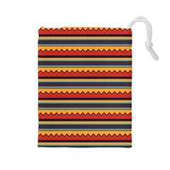 Waves And Stripes Pattern Drawstring Pouch