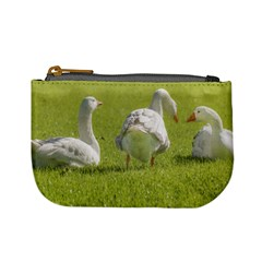 Group of White Geese Resting on the Grass Mini Coin Purses
