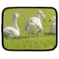 Group of White Geese Resting on the Grass Netbook Case (XXL)
