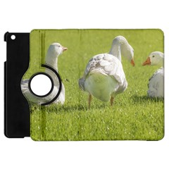 Group of White Geese Resting on the Grass Apple iPad Mini Flip 360 Case
