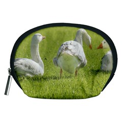 Group of White Geese Resting on the Grass Accessory Pouches (Medium)