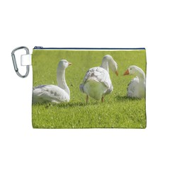 Group Of White Geese Resting On The Grass Canvas Cosmetic Bag (m)