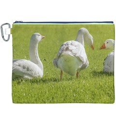 Group Of White Geese Resting On The Grass Canvas Cosmetic Bag (xxxl)
