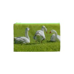 Group of White Geese Resting on the Grass Cosmetic Bag (XS)