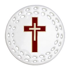 Red Christian Cross Round Filigree Ornament (two Sides)